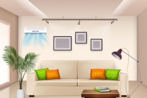 realistic with furnished room modern air conditioner wall 1284 27013